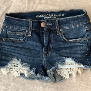 Brand new American eagle jean shorts with lace